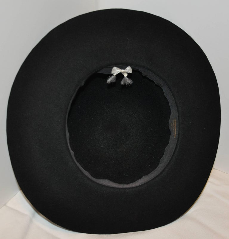 Women's or Men's Yves Saint Laurent Black Wool Felt Wide Brim Hat For Sale