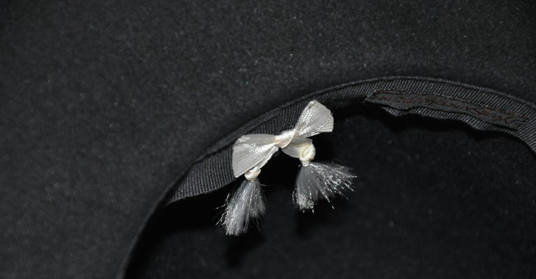 Yves Saint Laurent Black Wool Felt Wide Brim Hat For Sale 1