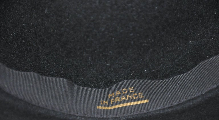 Yves Saint Laurent Black Wool Felt Wide Brim Hat For Sale 2