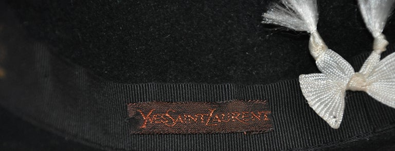 Yves Saint Laurent Black Wool Felt Wide Brim Hat For Sale 3