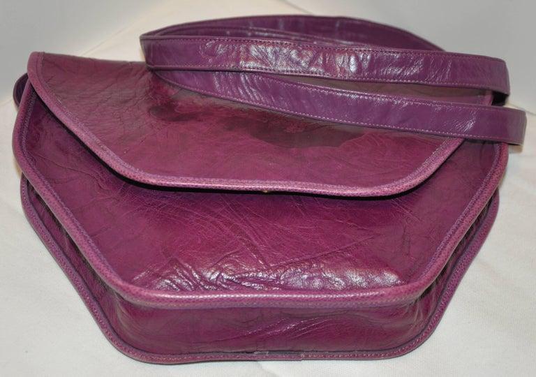 Brown Carlos Falchi Textured Violet Buffalo Shoulder Bag With Embossed Detail For Sale