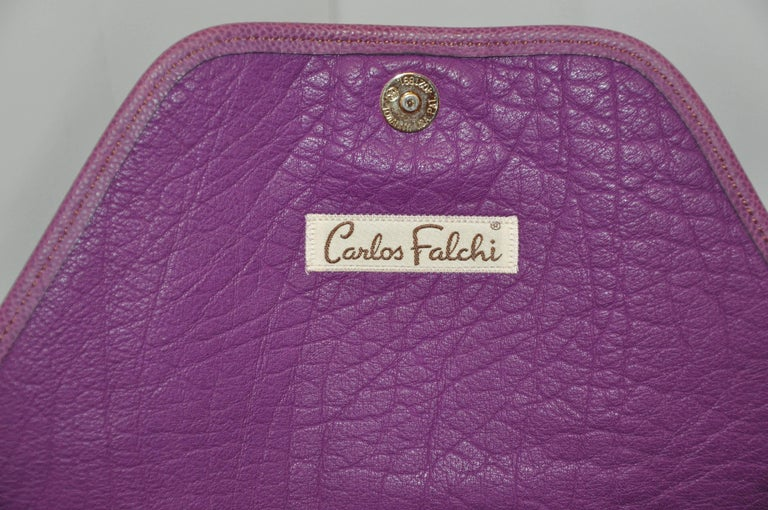 Carlos Falchi Textured Violet Buffalo Shoulder Bag With Embossed Detail In Good Condition For Sale In New York, NY