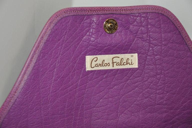 Women's or Men's Carlos Falchi Textured Violet Buffalo Shoulder Bag With Embossed Detail For Sale