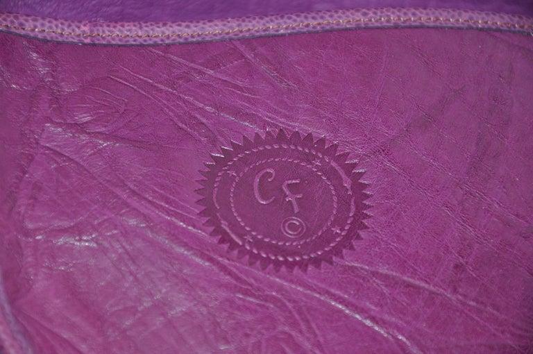 Carlos Falchi Textured Violet Buffalo Shoulder Bag With Embossed Detail For Sale 1