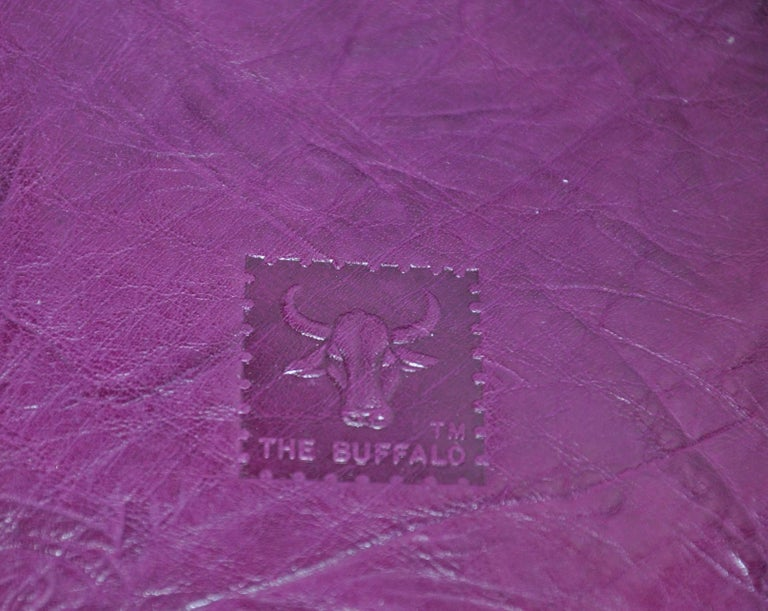 Carlos Falchi Textured Violet Buffalo Shoulder Bag With Embossed Detail For Sale 2
