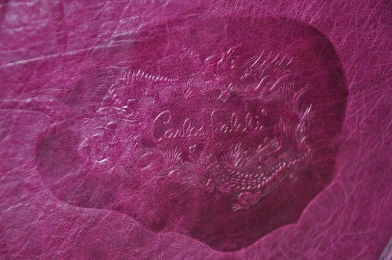 Carlos Falchi Textured Violet Buffalo Shoulder Bag With Embossed Detail For Sale 3