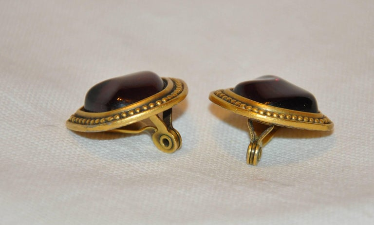 Baroque Yves Saint Laurent Plum Pour Glass with Gold Hardware Earrings For Sale