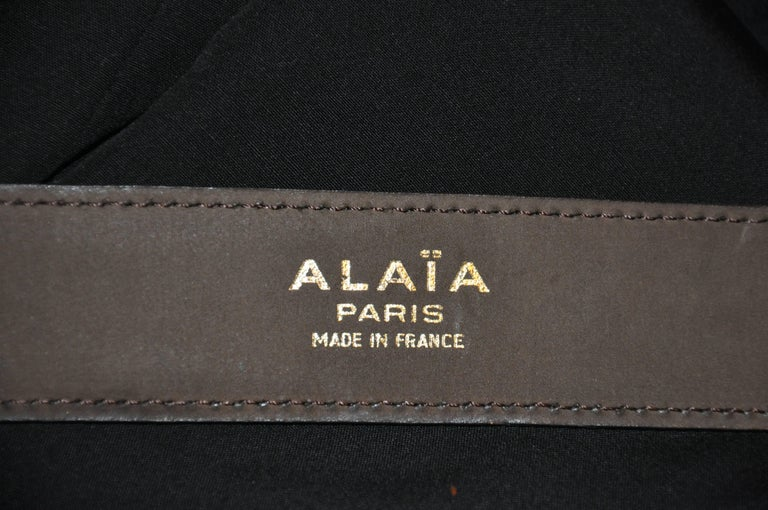 Black Alaia Coco Brown Calfskin with Brass Accent Leather Belt For Sale