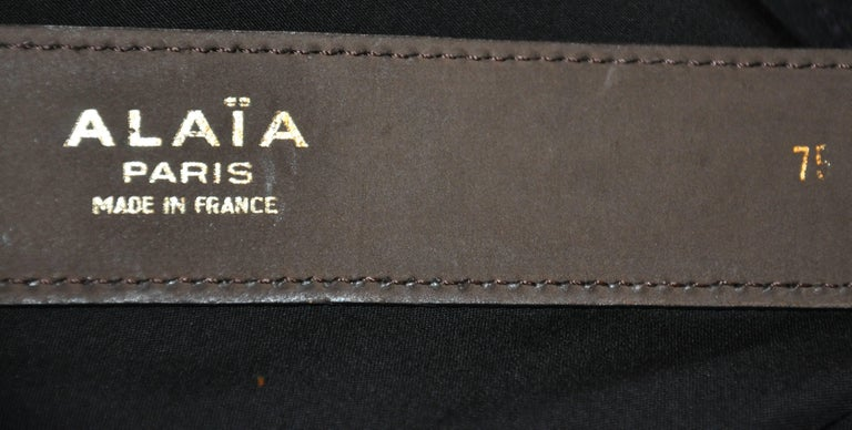 Alaia Coco Brown Calfskin with Brass Accent Leather Belt In Good Condition For Sale In New York, NY