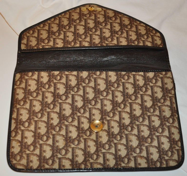 Women's or Men's Christian Dior Signature Brown Canvas Clutch with Coco Brown Calfskin Logo  For Sale