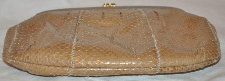 Beige Palizzio of Italy Tan Snake with Gray Calfskin Accent Clutch For Sale