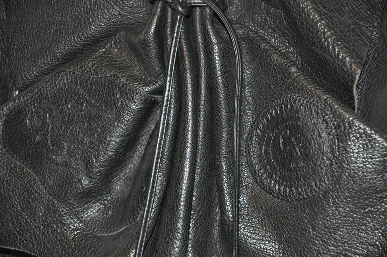 Carlos Falchi Large Signature Black Textured Buffalo Shoulder Bag In Good Condition For Sale In New York, NY
