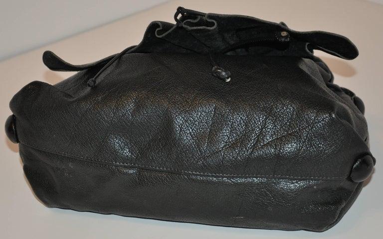Women's or Men's Carlos Falchi Large Signature Black Textured Buffalo Shoulder Bag For Sale