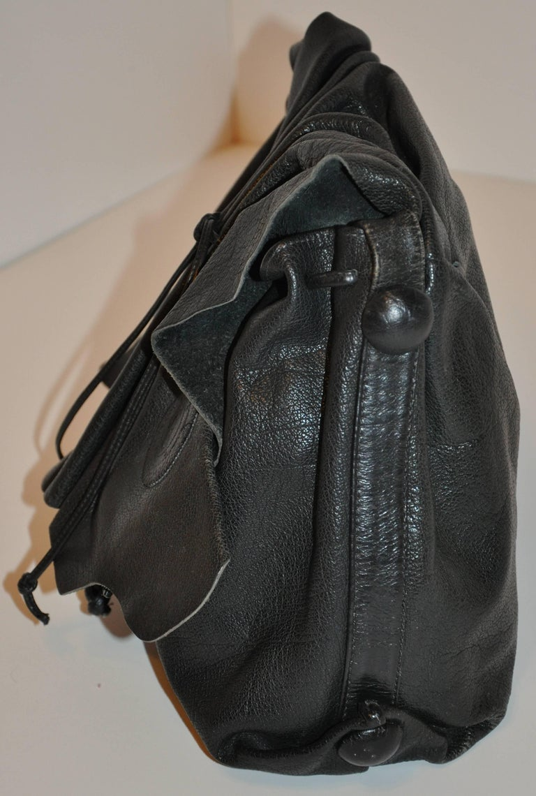 Carlos Falchi Large Signature Black Textured Buffalo Shoulder Bag For Sale 1