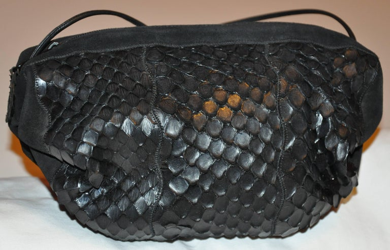 Carlo Falchi Black Suede Accented with Crocodile-Skin Shoulder Bag In Good Condition For Sale In New York, NY