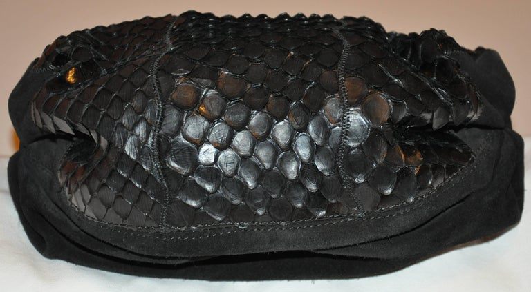 Carlo Falchi Black Suede Accented with Crocodile-Skin Shoulder Bag For Sale 1