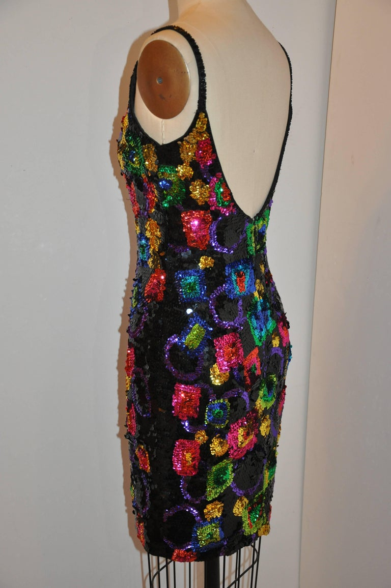 Lillie Rubin Whimsical Multicolor '80s Sequin Body-hugging