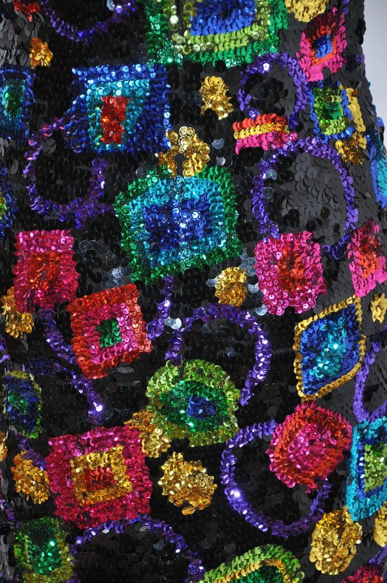 Women's or Men's Lillie Rubin Whimsical Multicolor '80s Sequin Body-hugging