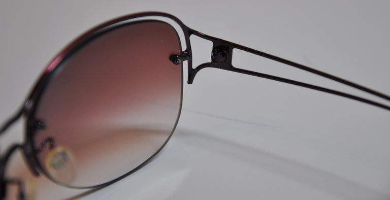 Jean Paul Gaultier Gilded Melot-Wine Hardware with Signature Logo Sunglasses In Good Condition For Sale In New York, NY