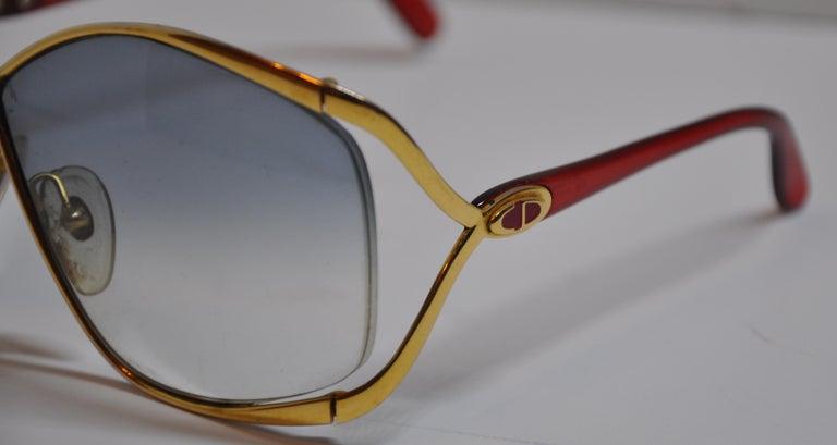 9c7bfcc8f32 Gray Christian Dior Signature Gilded Gold Hardware   Candy-Red Prescription  Sunglass For Sale