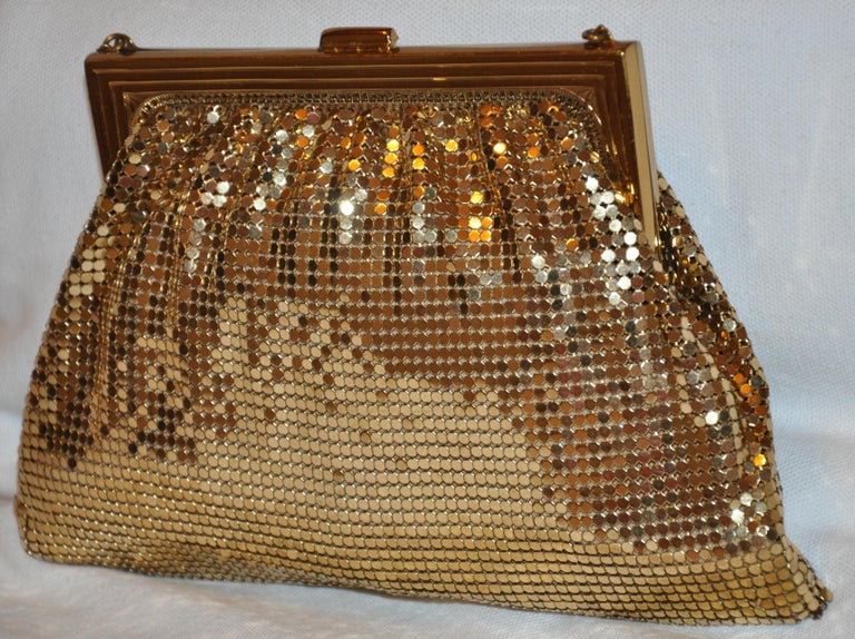 Brown Whiting & Davis Gilded Gold Hardware Mesh Evening Bag For Sale