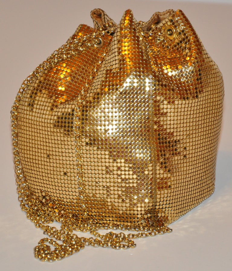 Brown Whiting & Davis Fully Lined Gilded Gold Hardware Mesh Drawstring Evening Bag For Sale