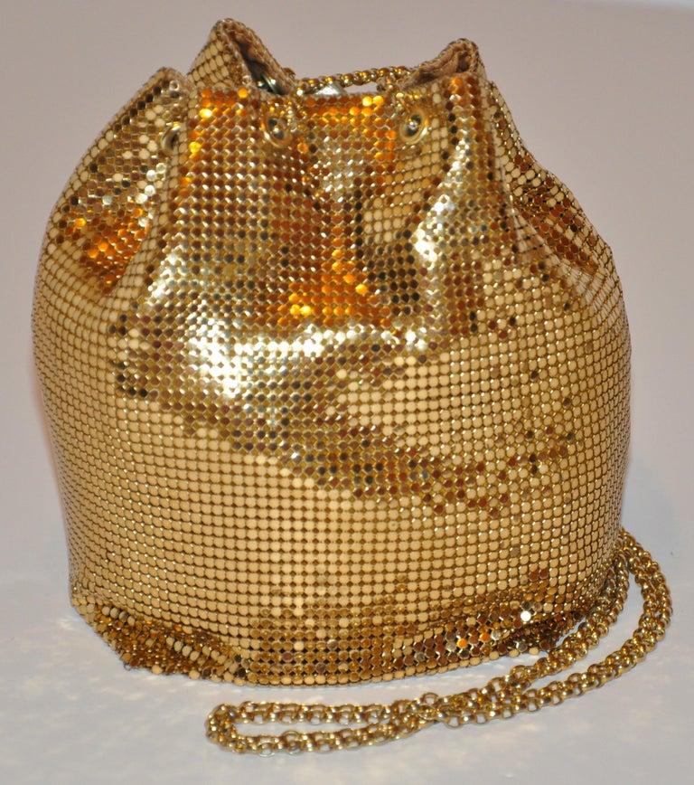 Women's or Men's Whiting & Davis Fully Lined Gilded Gold Hardware Mesh Drawstring Evening Bag For Sale