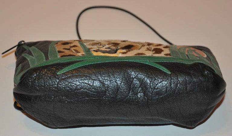Women's or Men's Carlos Falchi Textured Calfskin Zippered Patchwork