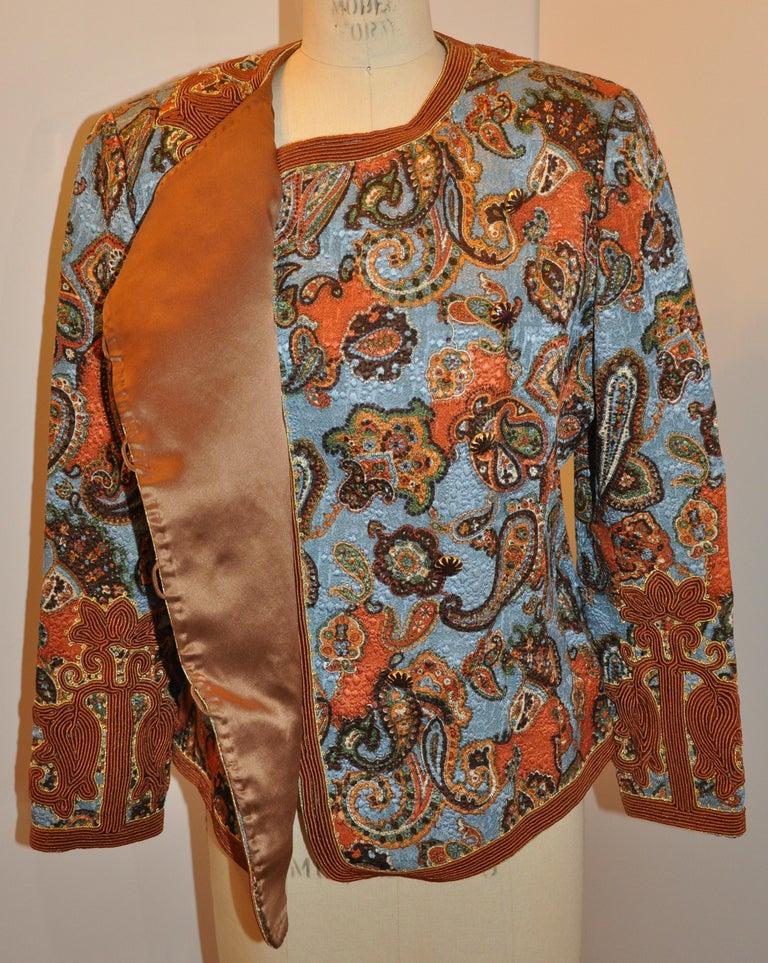 Brown Oscar de la Renta 'Couture' Metallic Multi-Palsey Brocade with Silk Cord Jacket For Sale