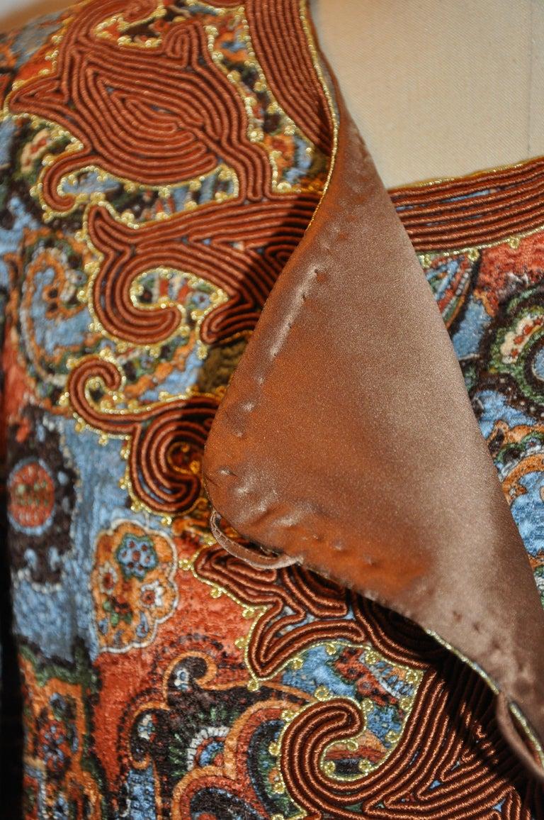 Oscar de la Renta 'Couture' Metallic Multi-Palsey Brocade with Silk Cord Jacket In Good Condition For Sale In New York, NY