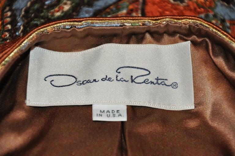 Oscar de la Renta 'Couture' Metallic Multi-Palsey Brocade with Silk Cord Jacket For Sale 3