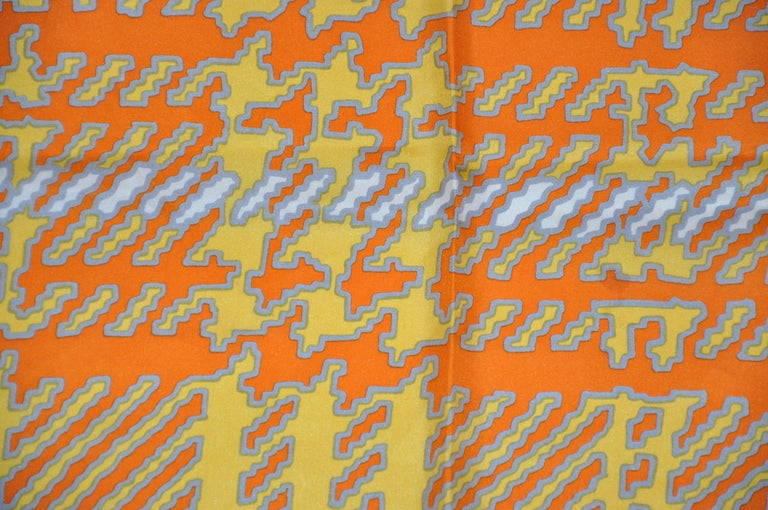 Orange Echo Wonderfully and Vividly Bold Tangerine, Ivory, Yellow & Gray Silk Scarf For Sale