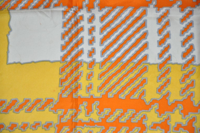 Echo Wonderfully and Vividly Bold Tangerine, Ivory, Yellow & Gray Silk Scarf In Good Condition For Sale In New York, NY