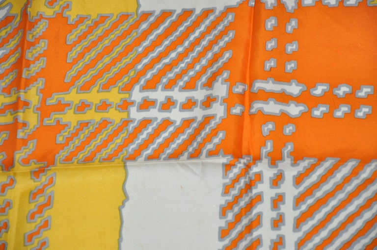 Women's or Men's Echo Wonderfully and Vividly Bold Tangerine, Ivory, Yellow & Gray Silk Scarf For Sale