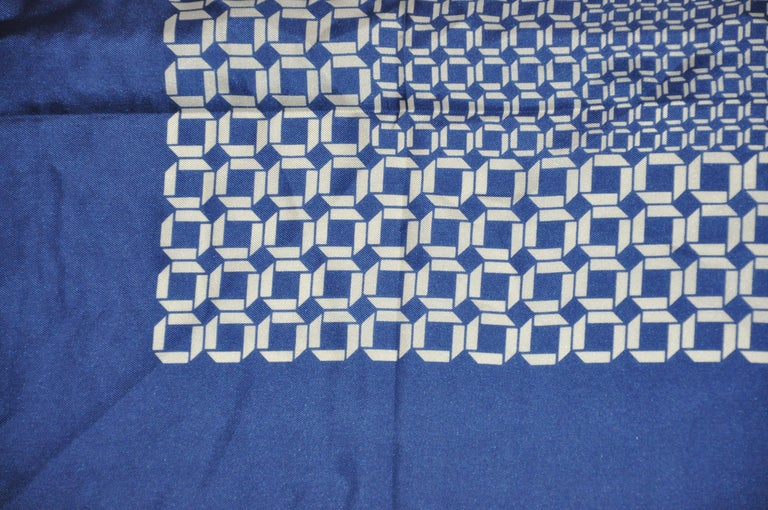 Women's or Men's Jean Caseeere (France) Navy & Ivory Abstract #2 Silk Scarf For Sale