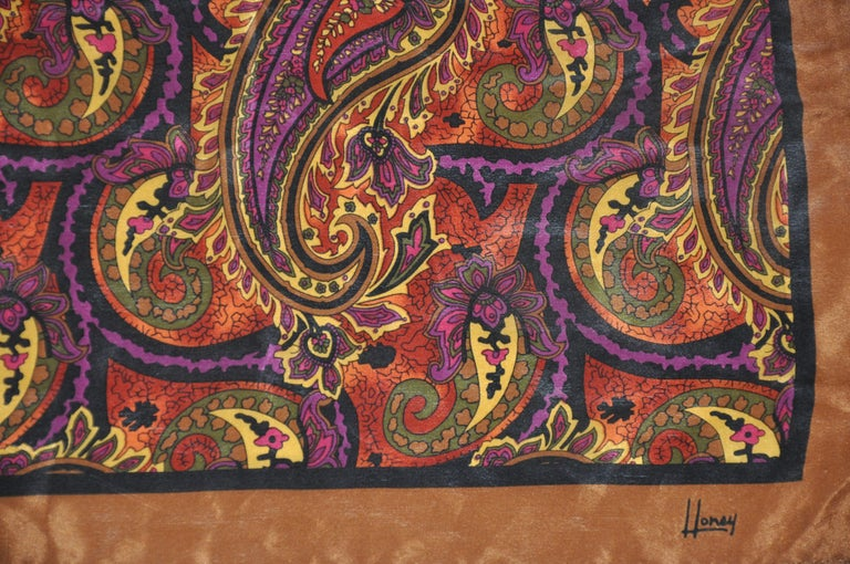 Women's or Men's Honey Wonderfully Rich Hues of Browns Palseys with Brown Borders Silk Scarf For Sale