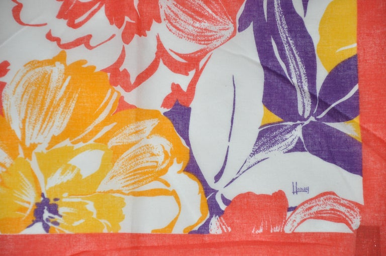 Orange Honey Wonderfully Vivid Multi-Color of Multi Florals Cotton Scarf For Sale