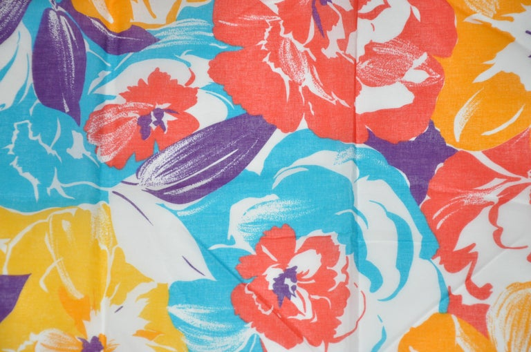 Honey Wonderfully Vivid Multi-Color of Multi Florals Cotton Scarf In Good Condition For Sale In New York, NY