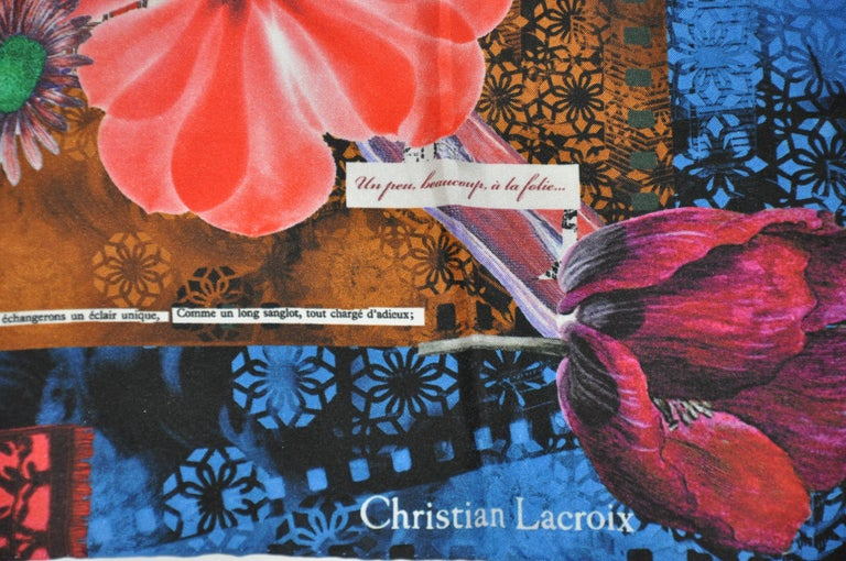 Christian LaCroix wonderful multi-color bold abstract florals silk jacquard scarf measures 26 inches by 27 inches, with hand-rolled edges. Original tags attached and Made in Italy.