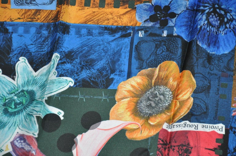Christian LaCroix Multi-Color Bold Abstract Florals Silk Jacquard Scarf In New Condition For Sale In New York, NY