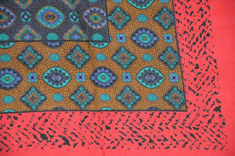 Women's or Men's Multi-Color Red & Black Leopard Border & Multi Palsey Center Cotton-Blend Scarf For Sale