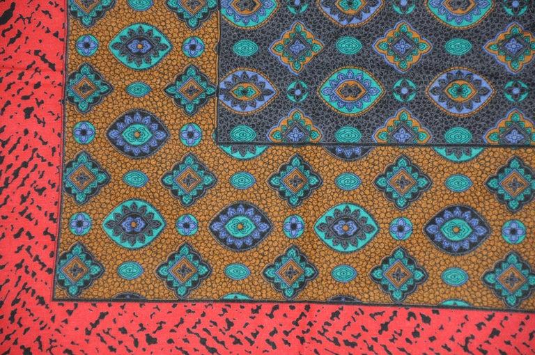 Multi-Color Red & Black Leopard Border & Multi Palsey Center Cotton-Blend Scarf For Sale 1