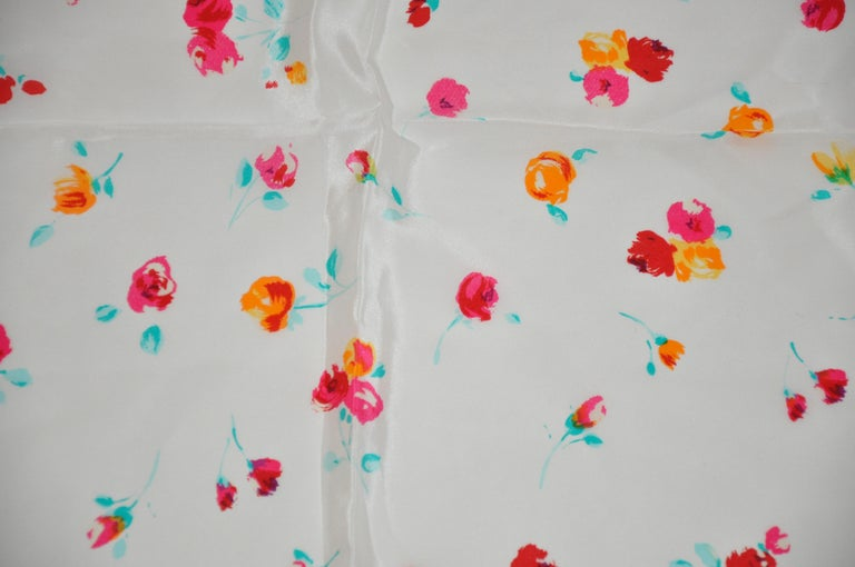 Beige Laura Ashley Springtime Cream with Multi Colors of Florals Silk Scarf For Sale