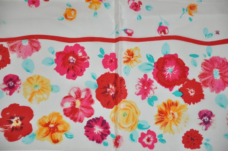 Laura Ashley Springtime Cream with Multi Colors of Florals Silk Scarf In Good Condition For Sale In New York, NY