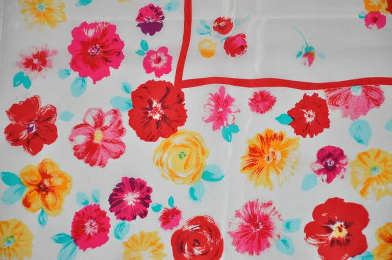 Women's or Men's Laura Ashley Springtime Cream with Multi Colors of Florals Silk Scarf For Sale