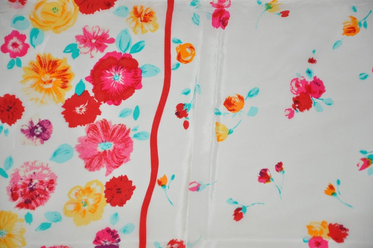 Laura Ashley Springtime Cream with Multi Colors of Florals Silk Scarf For Sale 1
