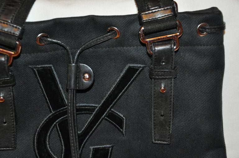 Yves Saint Laurent Signature Black Velvet Monogram Adjustable Double Handle Tote In Good Condition For Sale In New York, NY