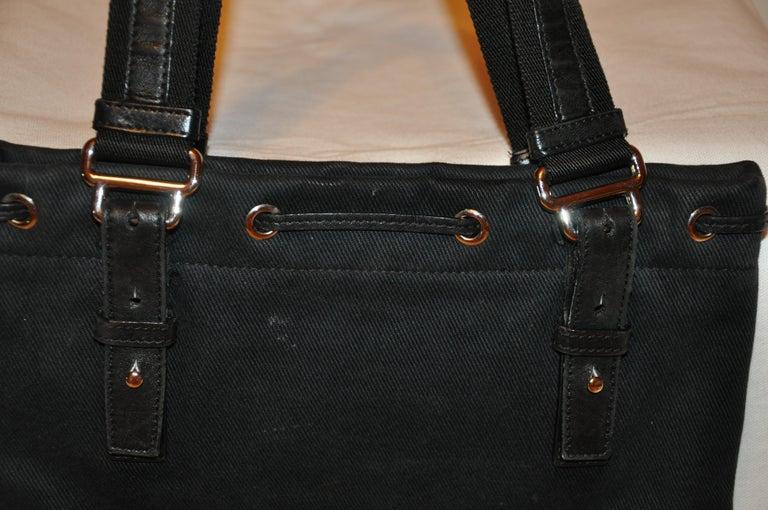 Women's or Men's Yves Saint Laurent Signature Black Velvet Monogram Adjustable Double Handle Tote For Sale