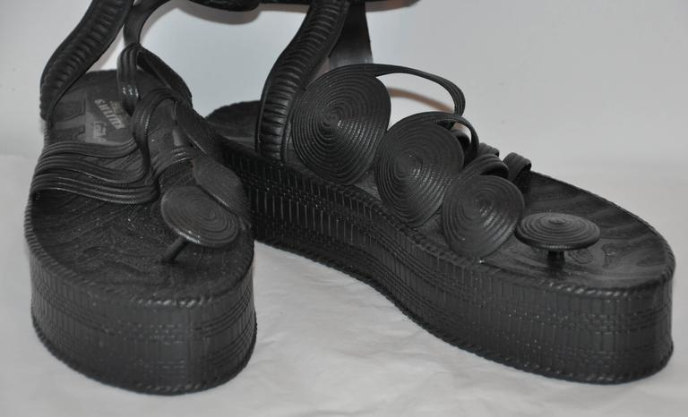 Jean Paul Gaultier Black Gladiator Sandals In Good Condition For Sale In New York, NY