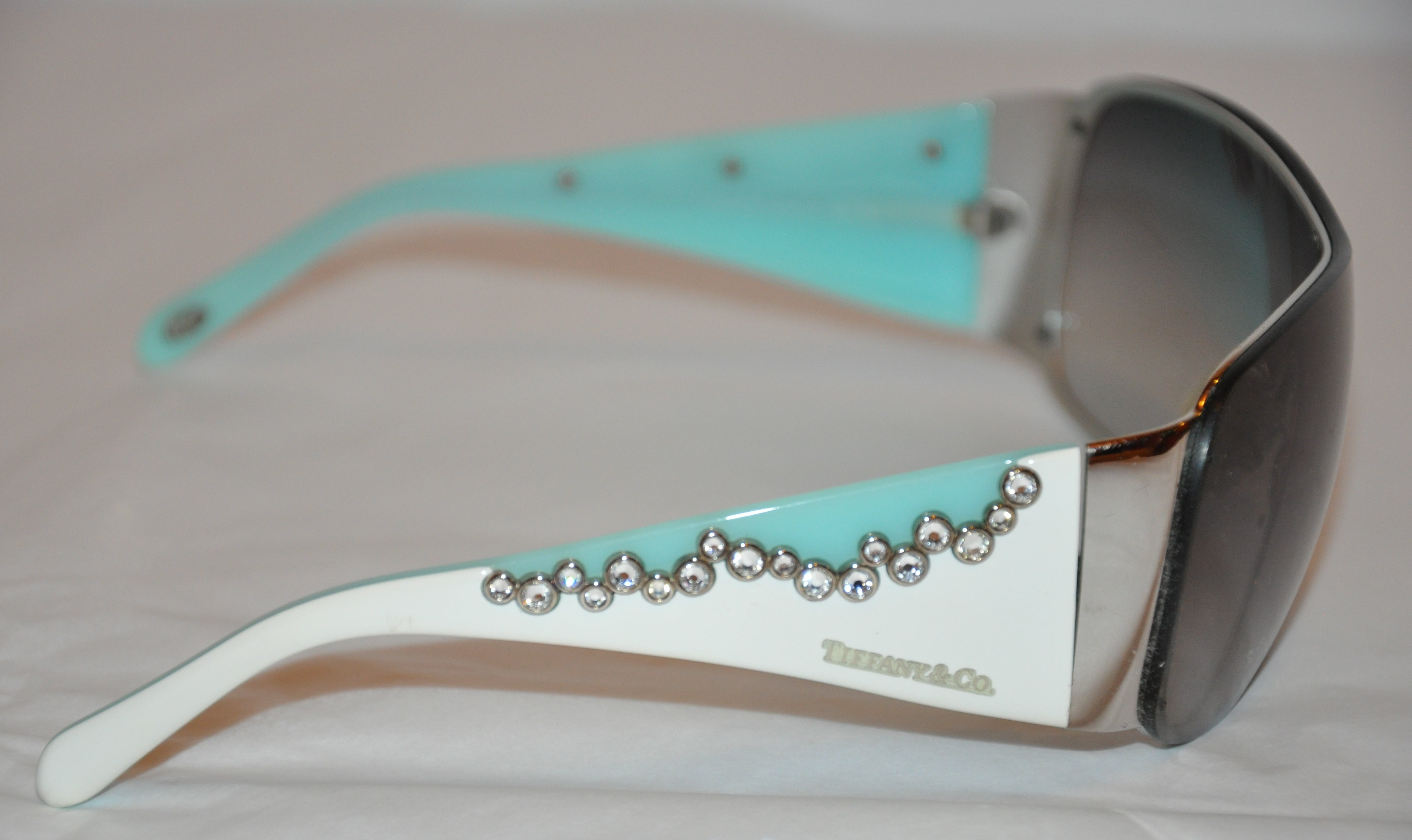 651dd19c50c1 Tiffany and Co Signature Turquoise with Multi-Rhinestones Huge Sunglasses  at 1stdibs